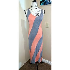 3/$20 Poof | coral and grey maxi dress LARGE NWT